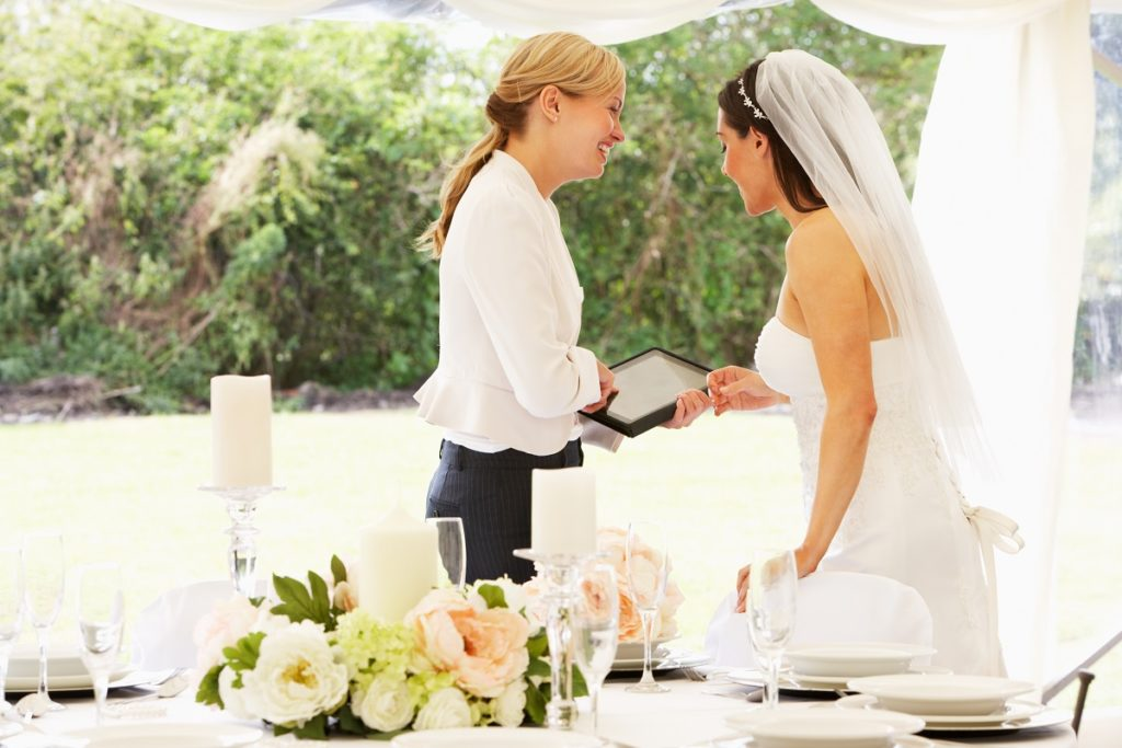 Bride talking to a wedding planner