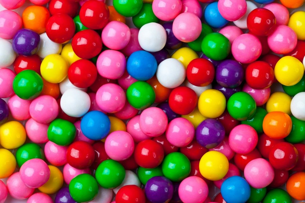 different colored gumballs